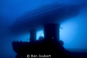 First dive in the morning, boat tied up above the wreck by Ben Joubert 